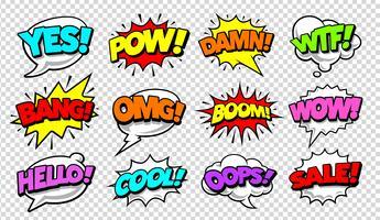 Jeu de bandes dessinées discours Pop Art Vector