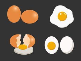Jeu de vecteur d'oeufs isolé sur fond blanc - illustration vectorielle