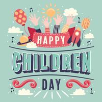 Journée des enfants main lettrage fond de vecteur. Bonne fête des enfants. Carte colorée de jour pour enfants heureux avec soleil ballon ballon mains - Illustration vectorielle
