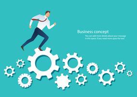 homme d'affaires, courant, machine, pignon, roue, projection, travail, vie, action, stratégie