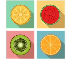Illustration vectorielle de style plat moderne icône fruits vue de dessus