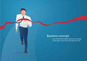 Homme d'affaires sur la ligne d'arrivée en illustration vectorielle de compétition concept