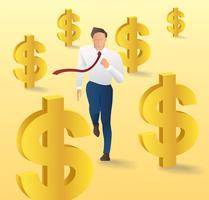 homme d'affaires en cours d'exécution avec l'icône de l'argent, mode homme d'affaires isométrique, illustration vectorielle de Concept business