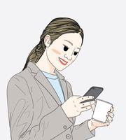 Femmes au bureau, discutant avec des amis sur un téléphone mobile vecteur