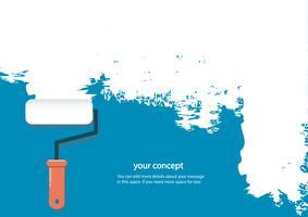 rouleau de peinture isolé avec un espace pour le texte et le fond bleu