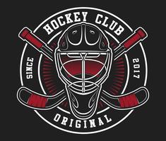 Casque de hockey avec des bâtons vecteur