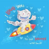 Affiche chat mignon vole sur une fusée. Dessin à main levée. Style de bande dessinée illustration vectorielle vecteur