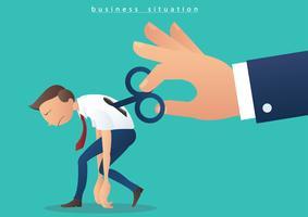main tournant enrouleur sur homme d'affaires, homme d'affaires avec une clé de remontage sur son dos illustration vecteur