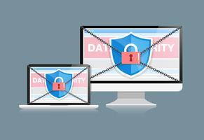 Le concept est la sécurité des données. Shield on Computer Desktop ou Labtop protège les données sensibles. La sécurité sur Internet. Illustration vectorielle
