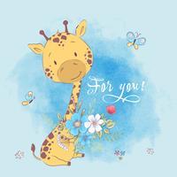 Affiche de fleurs et de papillons mignons de girafe. Dessin à main levée. Style de bande dessinée illustration vectorielle