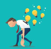 ampoule insertion dans le dos de l'homme d'affaires, concept d'entreprise d'illustration vectorielle idée créative