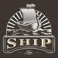 Emblème de bateau vintage vecteur