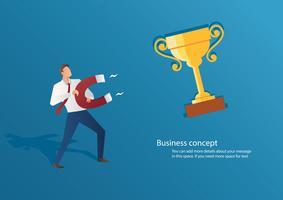trophée attirant d'affaires homme d'affaires concept avec une illustration vectorielle de grand aimant vecteur