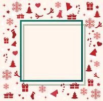 Éléments de Noël avec illustration vectorielle de l'espace modèle fond vecteur