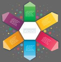 Infographie de flèche et hexagone. Modèle vectoriel avec 6 options. Peut être utilisé pour le Web, diagramme, graphique, présentation, graphique, rapport, infographie étape par étape. Abstrait