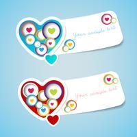 Amour joyeux Saint Valentin étiquette de voeux avec du papier coupé style. Vecteur