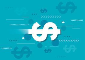 dollars abstraits et illustration vectorielle fond bleu
