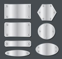 plaque métallique bannière définie illustration vectorielle vecteur