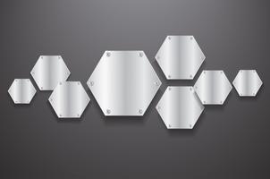 hexagone de plaque métallique et illustration vectorielle fond noir
