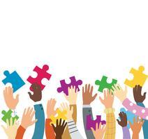 beaucoup de mains tenant des pièces de puzzle coloré fond illustration vectorielle