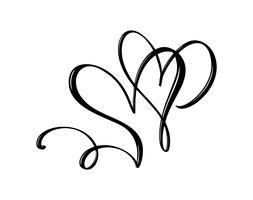 Main dessiné deux signe d'amour de coeur. Illustration vectorielle de calligraphie romantique. Symbole d'icône Concepn pour t-shirt, carte de voeux, mariage affiche. Élément plat design de la Saint-Valentin vecteur