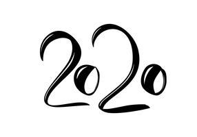 Main dessinée vecteur lettrage calligraphie noir nombre texte 2020. Carte de voeux de bonne année. Vintage design d'illustration de Noël