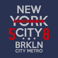 Typographie de remix de Brooklyn, graphiques de t-shirt, vecteurs