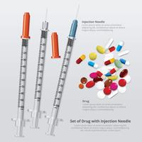 Ensemble de drogue avec illustration vectorielle réaliste aiguille à injection