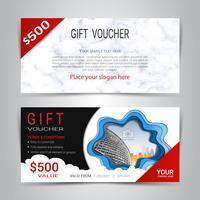Chèques-cadeaux et bons d'achat, coupon de réduction ou modèle web bannière avec fond imitation marbre texture vecteur