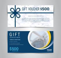 Chèques-cadeaux et cartes de bons d'achat, coupon de réduction ou modèle de bannière Web avec imitation de texture marbre. vecteur