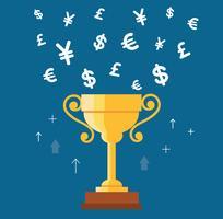 Coupe du trophée avec le symbole de l'argent vecteur, gagnant de la notion d'argent vecteur