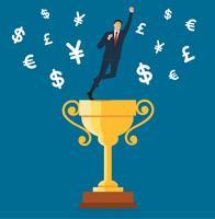 homme d'affaires, debout sur la coupe du trophée avec le symbole de l'argent symbole vecteur, illustration de concept d'affaires vecteur