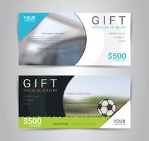Modèle de carte ou une bannière de chèque cadeau avec un arrière-plan flou. vecteur