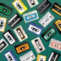 Vintage cassette rétro modèle de conception modèle illustration vectorielle