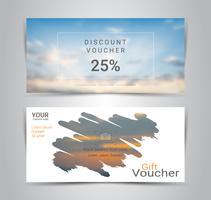 Chèques-cadeaux et bons d'achat, coupon de réduction ou modèle de bannière Web avec un arrière-plan flou. vecteur