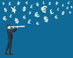 homme d'affaires regarde à travers un fond d'icône symbole télescope et argent