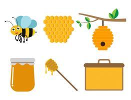 Collection de produits d'abeilles et de miel sur fond blanc - illustration vectorielle