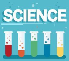 texte scientifique et laboratoire coloré rempli d'un fond bleu clair et liquide