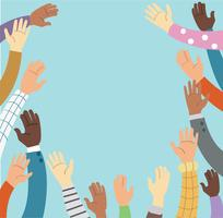 Mains levées volontariat et concept de vecteur de fond bleu