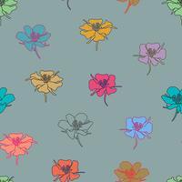 Doodle coloré fleurs fond transparent.