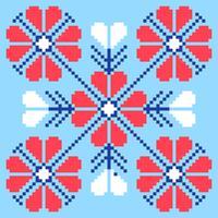 Modèle Art Pixel Fleurs Folk vecteur