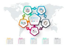 Infographie des étiquettes des pentagones vecteur