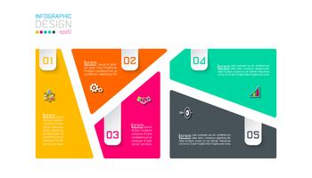 Étiquettes à barres infographiques à 5 étapes. vecteur