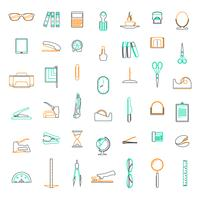 Icônes de ligne vectorielles définies dans le bureau d'études et les affaires avec des éléments pour les concepts mobiles et les applications web