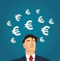 Homme d'affaires avec illustration vectorielle icône Euro