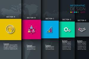 Cinq étiquettes avec infographie icône affaires.