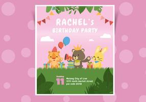 Invitation d'anniversaire rose mignon avec illustration de vecteur de caractère animal