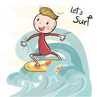 garçon de surf de vecteur de caractère mignon sur la planche de surf flottant sur la grande vague