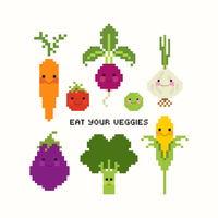 Légumes mignons Pixel Art Vector Set