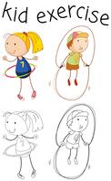Exercice de personnage de fille Doodle vecteur